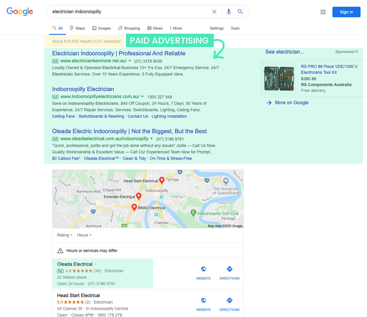 Google search results showing paid ads